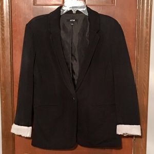 Women's Black Blazer with Rolled Cuffs